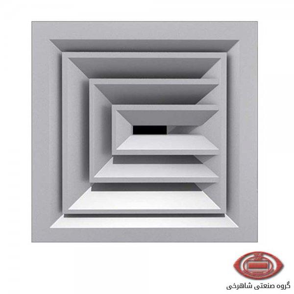 دریچه سقفی چهارگوش با پره های ثابت شاهرخی